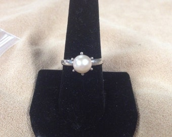 Vintage 925 Sterling Silver Ring with Faux Pearl, Size 7.75