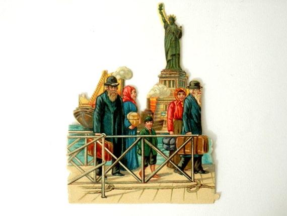 Viktorianische Die schneiden Judaica Ellis Island jüdischer Immigranten Statue of Liberty