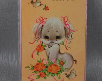 Unused Happy Birthday Wife Card Cut e Puppy and Birds Old New Stock