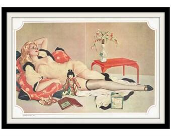 "ALBERTO VARGAS Pinup Girl ""Les Fleurs du mal"" Vintage Decor Print"
