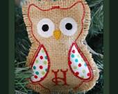 Monogrammed Burlap Owl Christmas Ornament