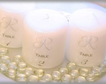 Wedding reception candle table numbers, wedding decorations, wedding candles