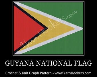 Guyana National Flag - Afghan Crochet Graph Pattern Chart - Instant Download