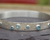 Blue aquamarine bangle sterling silver bracelet hammered suface artisan jewelry