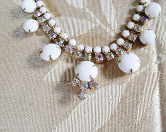 Vintage Milk Glass and Rhinestone Necklace