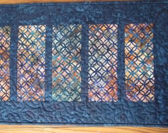 Deep blue batik quilted table runner