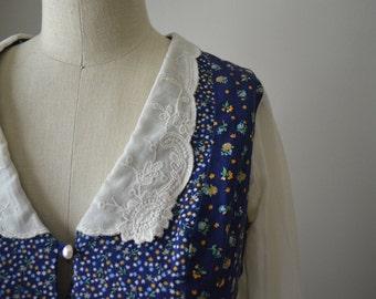 70s Gunne Sax Style Floral Prairie Collared Dress.