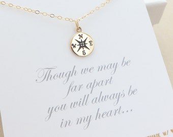 Compass Necklace, friendship necklace, best friend gift, graduation gift, graduation necklace, sisters necklace, mom gift, mother daughter