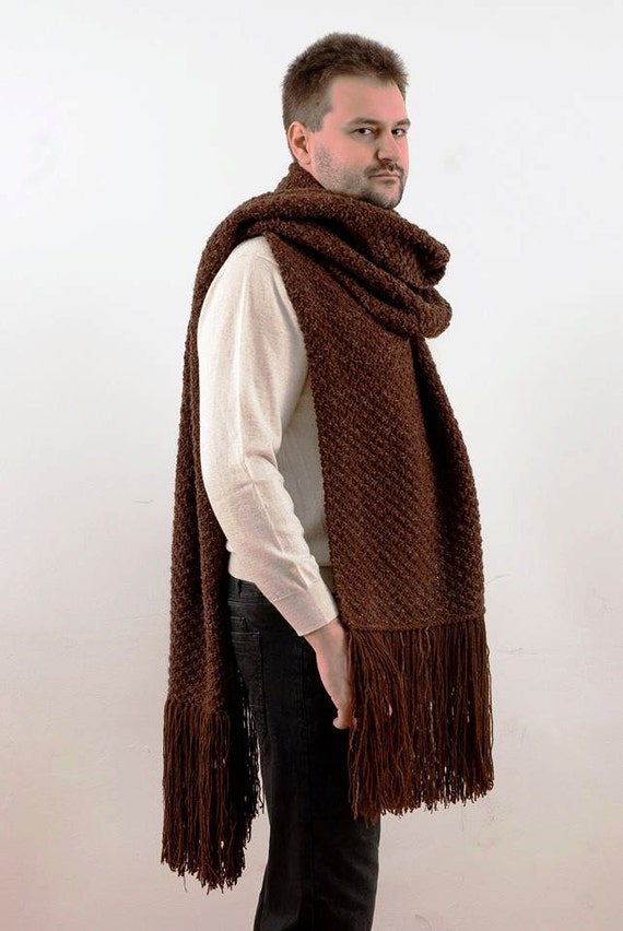 Huge Hand Knit Mens Scarf Winter Man Extra Long By