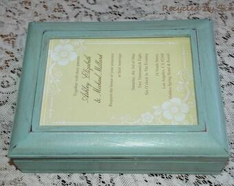 Photo Top Keepsake Memory Box Hand Painted Shabby Cottage Chic Style