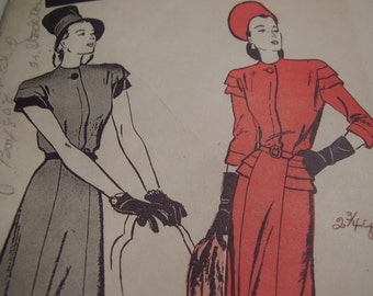 Vintage 1940's Butterick 3714 Dress Sewing Pattern, Size 16, Bust 34
