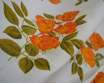 Vintage 1950's, 60's, 70's Orange Roses Crepe Scarf Fabric, 4 yards