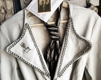 Anastasia-Vintage Grey Leather Jacket with Harley Davidson Chain Belt, Chain Trim, Bondage Artist Mannequin Pin, Mod Art Mans Tie