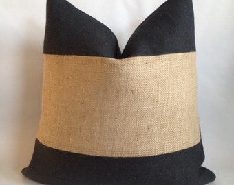 Natural Burlap Horizontal Stripe with Black Burlap Pillow Cover