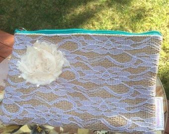 Burlap and lace pouch