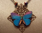 Blue and Bronze Butterfly Necklace
