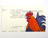 The Joy of Chickens Library Card Art - Print of my painting of rooster on library card catalog card