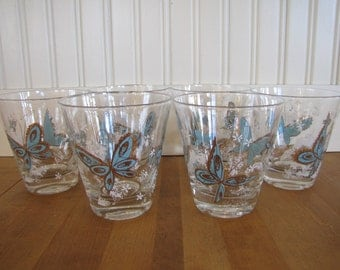 1960's Butterfly 6 Glass Set, Glassware, Glass, Blue, Butterfly, 1960's, Rocks Glasses, Glass Set, 6 Glasses