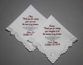 Mother of Bride & Mother of Groom Wedding handkerchief Embroidered Personalized Custom