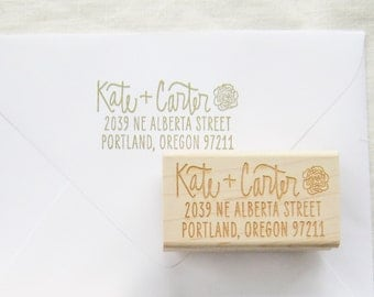Custom address stamp - floral return address stamp - personalized address stamp - hand lettered address stamp with flower - A0015
