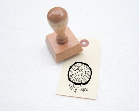 Favorito Legno fetta matrimonio favore Stamp handlettered timbro BN83