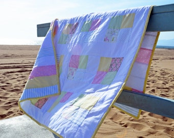 Patchwork Nursery Hand Tied Quilt in Pastels