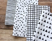 Black and White Cotton Fabric - Geometric - 4-in-1 - By the Yard 72162