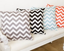 "Chevron Cotton Fabric - Orange, Mint, Gray or Black - 62"" Wide - By the Yard 68187 - Zig Zag Geometric"