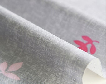 """Leaves Cotton Fabric - Gray - 61"""" Wide - By the Yard 77512"""