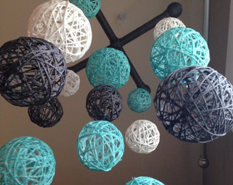 Teal Gray and White Yarn Ball Baby Mobile