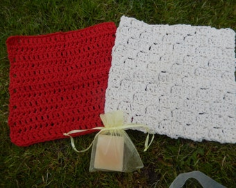 set of 2 lovely crocheted cotton wash cloths, face cloths cream and red with home made soap