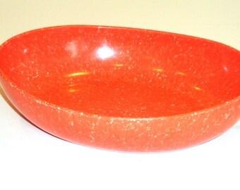 Vintage Brookpark Bowl - Brookpark Gaiety Bowl - Joan Luntz Melmac Bowl - Orange White Oval Bowl - MidCentury Orange Melamine Bowl