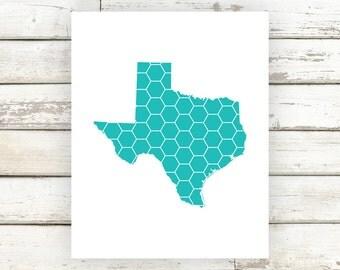 Honeycomb State Art, Honeycomb, Honeycomb Print, Honeycomb Poster, Custom State Art, State Art, State Prints, State Poster, State Decor