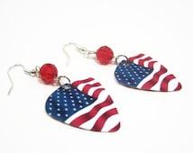 Patriotic American Flag Guitar Pick Earrings, Patriotic Earrings, Red White Blue Earrings, American Pride Earrings, Dangle Earrings
