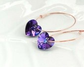 Purple Heart Earrings, Lilac Wedding Jewelry, Minimal Silver Hoops,