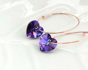 Dainty Purple Heart Earrings, Minimal Hoops, Unique Gift for her Under 25