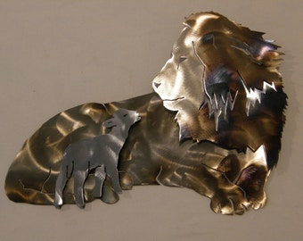 Metal Wall Sculpture of Lion and Lamb