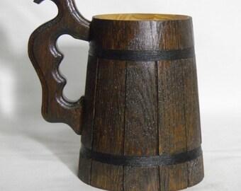 Wooden Beer mug 0.7 l (23oz), natural wood,groomsmen gift, n33