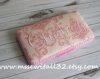 Custom Pink Damask Diaper Wipes Case