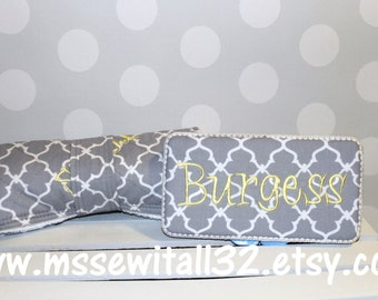 Gray Quatrefoil  Changing Pad and Diaper Wipes Case Set (You Pick Accent Color)