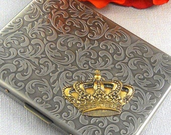 Valentine Gift Golden Crown Cigarette Case Holder Steampunk Card Case Gothic Victorian Crown
