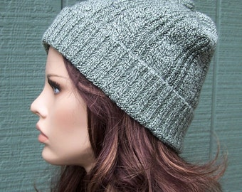 SALE Sage green slouchy beanie. Recycled sweater hat. Eco, handmade unisex ski hat. upcycled sweater knit hat