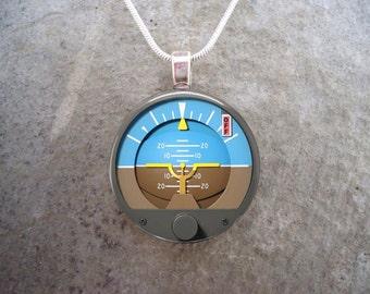 Attitude Indicator - Glass Pendant Necklace - Aircraft Instrument Jewelry