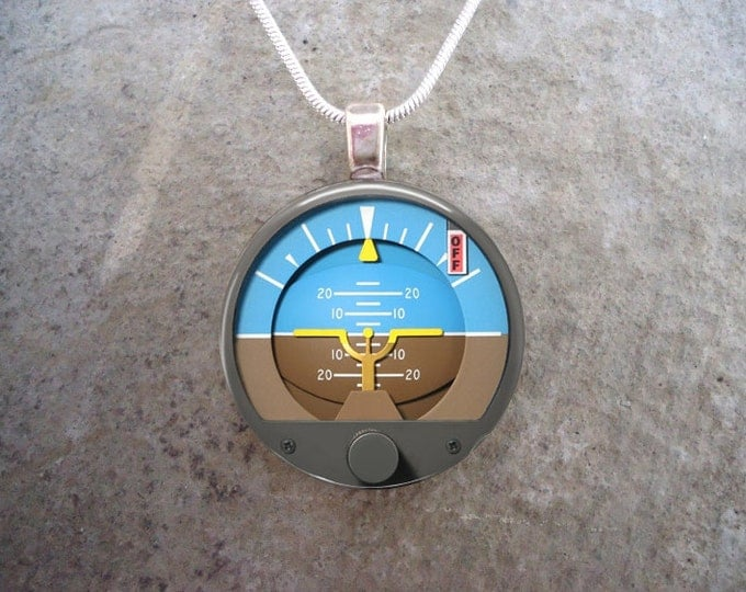 Attitude Indicator - Glass Pendant Necklace - Aircraft Instrument Jewelry