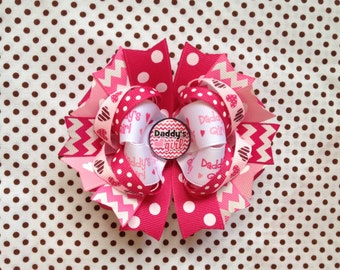 Ready To Ship Hairbow! Daddy's Girl Hairbow, I Love Daddy Hairbow, Pink Chevron Polka Dot Boutique Hairbow, Girls Hairbow