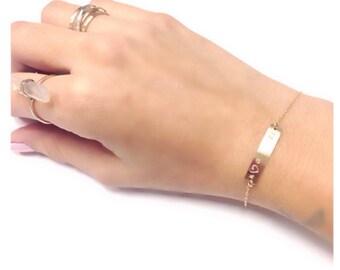 Medical ID Bracelet, Gold Bar Personalized Bracelet, Medical ID Bracelets, ID Bracelet, Gold Bar Bracelet, Medical Bracelet