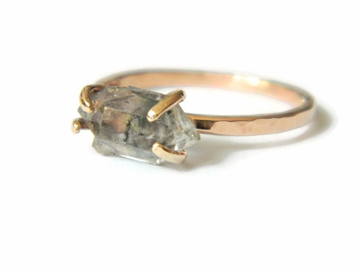 Rose Gold Engagement Ring Raw Herkimer Diamond By