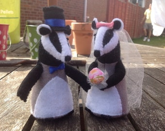 Handmade badger wedding cake topper felt - made to order