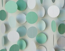 Mint Green & White Garland, Mint Wedding Decoration, Baby Shower Decor, Nursery, Birthday Party