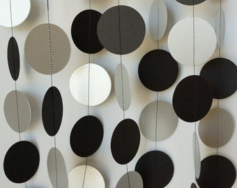 Black silver white paper garland birthday party - Black silver and white party decorations ...